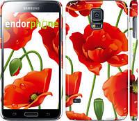 """Чехол на Samsung Galaxy S5 g900h красные маки 2 """"2389c-24"""""""