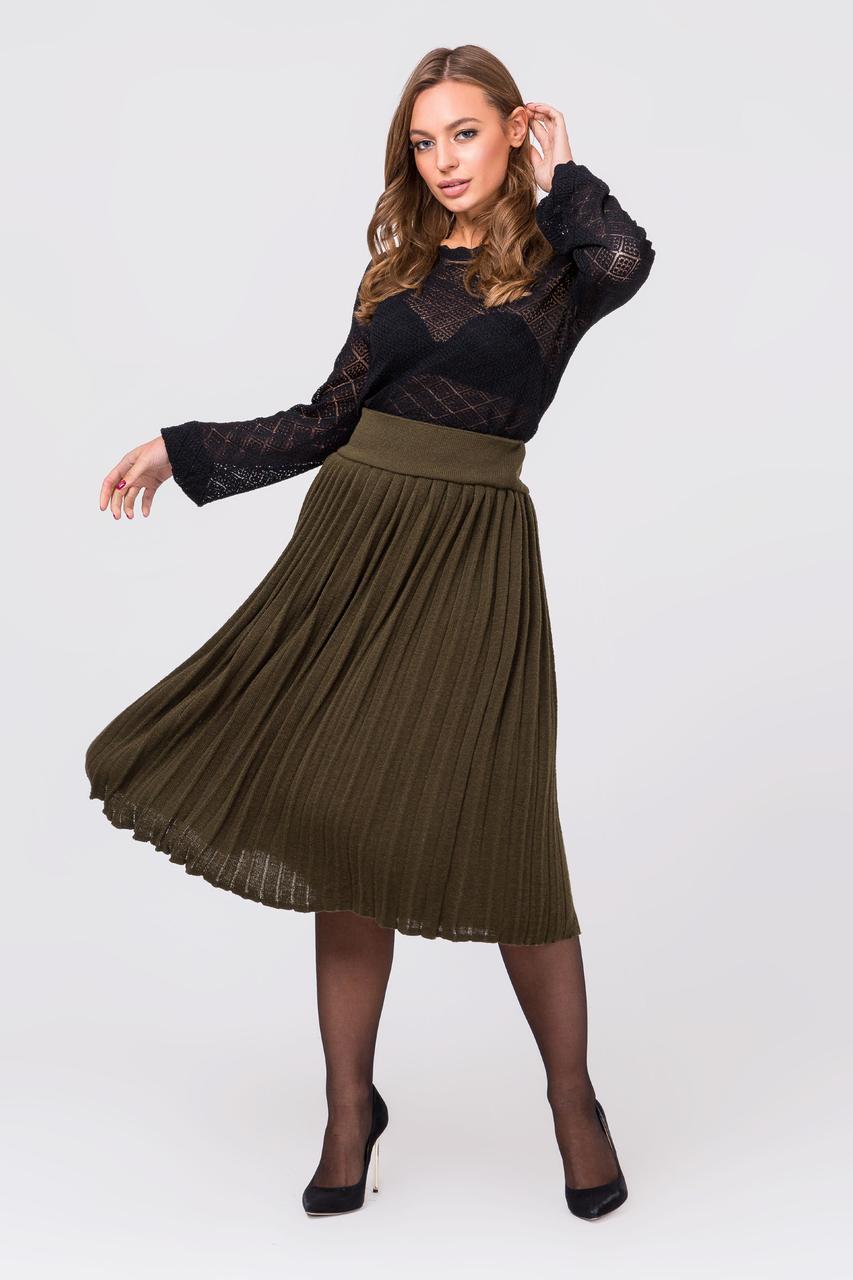 Вязаная юбка плиссе миди (хаки)