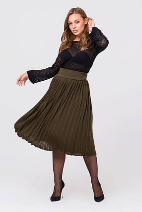 Вязаная юбка плиссе миди (хаки), фото 2