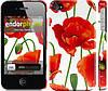"""Чехол на iPhone 4s красные маки 2 """"2389c-12"""""""