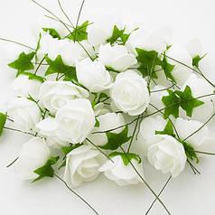 Роза (квітка) з латексу біла 3,5 см