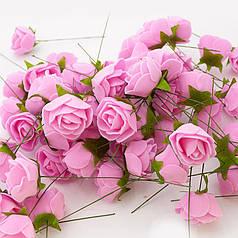 Роза (квітка) з латексу рожева 3,5 см