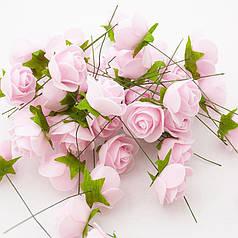 Роза (квітка) з латексу ніжно-рожева 3,5 см