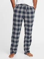 Мужские фланелевые штаны Old Navy серо-синие XL пижама домашние  США