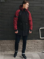 Парка зимняя мужская Staff look black and red теплая куртка черная с красным
