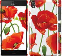 """Чехол на Sony Xperia Z3 dual D6633 красные маки 2 """"2389c-59"""""""