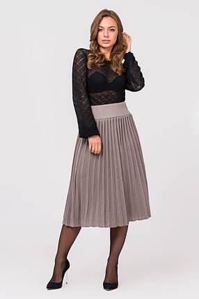 Вязаная юбка плиссе миди (капучино), фото 2