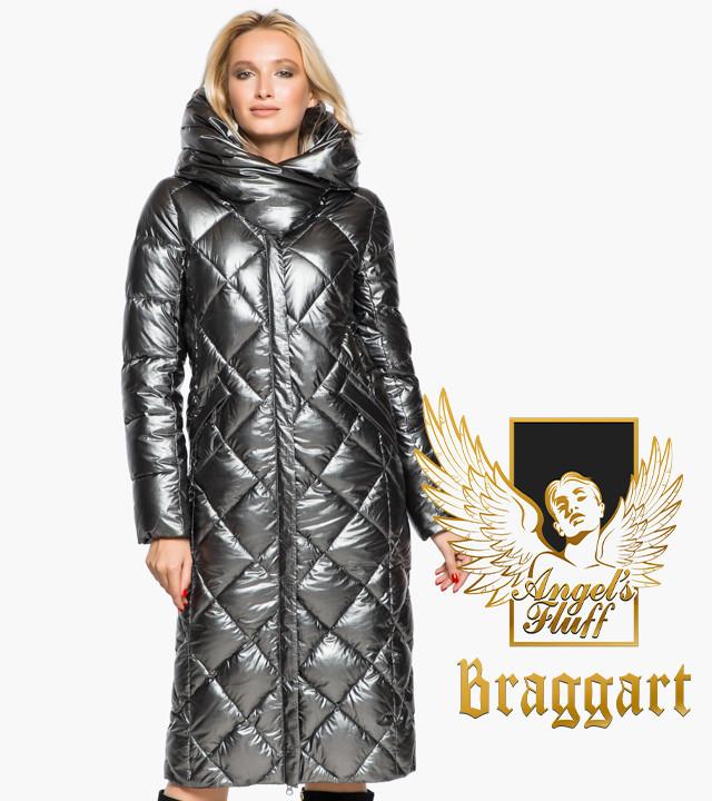 Воздуховик Braggart Angel's Fluff 31031 | Зимняя женская куртка темное серебро