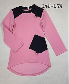 Теплая Туника Карманчик 146-158 розовый  /  оптом от производителя Украина