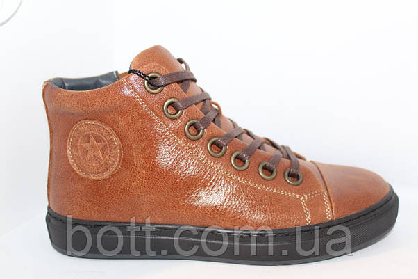 Коньячные кожаные зимние ботинки, фото 3