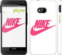 "Чехол на HTC One M7 Nike с розовым логотипом ""2736c-36"""