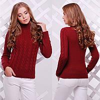 """Жіночий бордовий светр під горло """"Ноа"""", фото 1"""