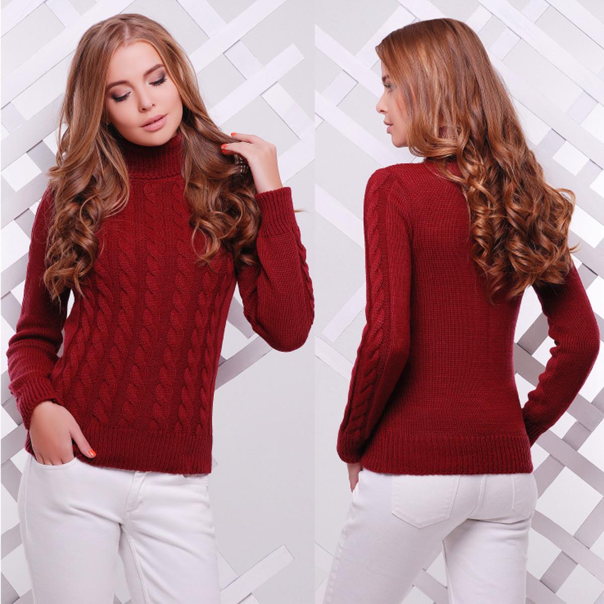 """Жіночий бордовий светр під горло """"Ноа"""""""