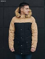 Парка зимняя мужская Staff tor black and beige теплая куртка черная с бежевым