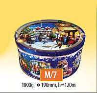 Новогодняя коробка с крышкой из жести 19х12 см, Ретро фиолетовая, Новогодняя упаковка, Днепр