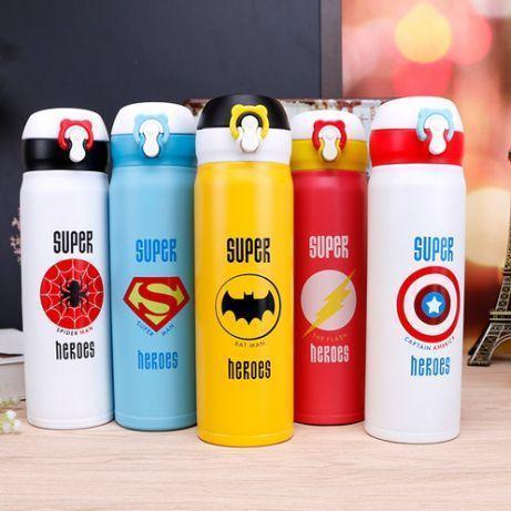 Термос с поильником Супергерои 500 мл Человек паук, Капитан Америка, Бэтмен, Супермен