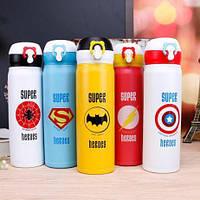 Термос с поильником Супергерои 500 мл Человек паук, Капитан Америка, Бэтмен, Супермен, фото 1