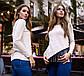 """Женская стильная туника на флисе до батальных размеров 15237 """"Джерси Диагональ Бахрома"""" в расцветках, фото 5"""