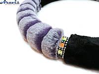 Оплетка чехол на руль авто Conson меховая фиолетовая полосатая 37-39 см