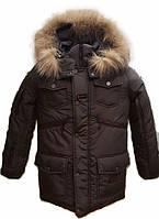 Зимняя подростковая куртка на мальчика, коричневая, 146-164