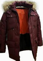 Зимняя подростковая куртка на мальчика бордового цвета, 146-164