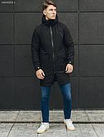 Мужская парка, куртка трансформер черная стафф/ Чоловіча парка весняно осіня Staff transformer black MBM0005-1