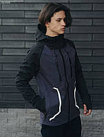 Мужская молодежная осенняя куртка стафф /Чоловіча осіння куртка Staff softshell grafit and black LBL0068