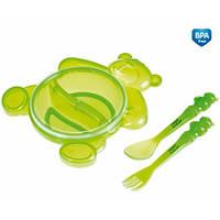 Набор для кормления  Медведь (тарелка,вилка,ложка) Canpol Babies Польша разные цвета 2/422