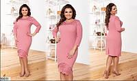 """Нарядное женское платье с кружевом ткань """"Креп-Дайвинг"""" 48, 50, 54 , 58 размер батал"""