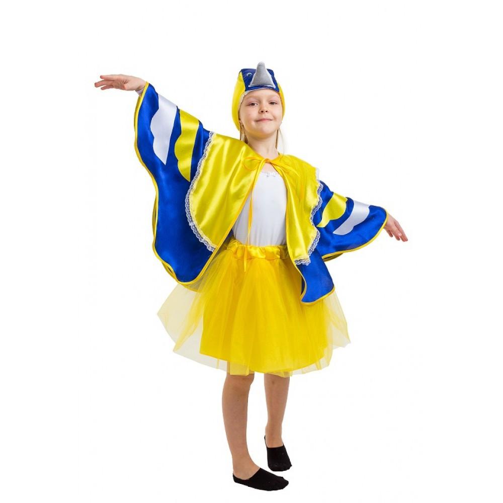 Детский костюм Синицы для девочки желто-голубой