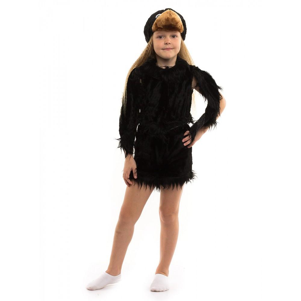 Костюм Вороны для девочки черный мех от 3 до 6 лет