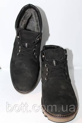 Черные кожаные зимние ботинки, фото 3