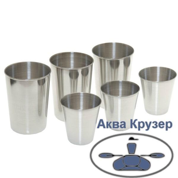 Набор стаканов из нержавеющей стали 60 мл и 150 мл Borika FASTen Gl221, походный в чехле