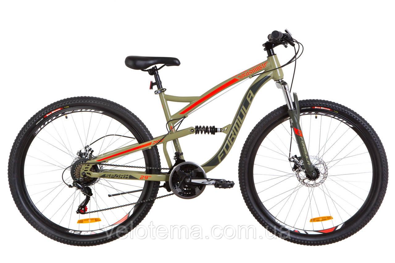 """Велосипед 29"""" Formula SPARK AM2 14G DD рама-18"""" St оливково-червоний 2019"""