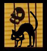 Наклейка на окно Кот черный, фото 1
