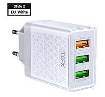 Сетевое зарядное устройство Topk Qualcomm Quick Charge 3.0 30W 3xUSB White (B354Q)
