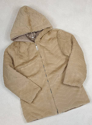 Меховая куртка 128-146 беж, фото 2