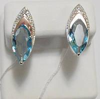 Серебряные серьги с голубым камнем Капель, фото 1