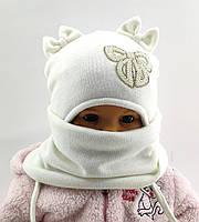 Шапка детская на завязках ткань ангора с хомутом на синтепоне 44-48 см (ШДТ794)