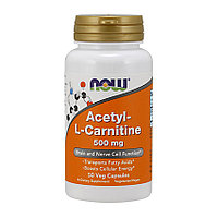 Л-карнитин NOW Acetyl-L-Carnitine 500 mg 50 veg caps л-карнитин для похудения, жиросжигатель