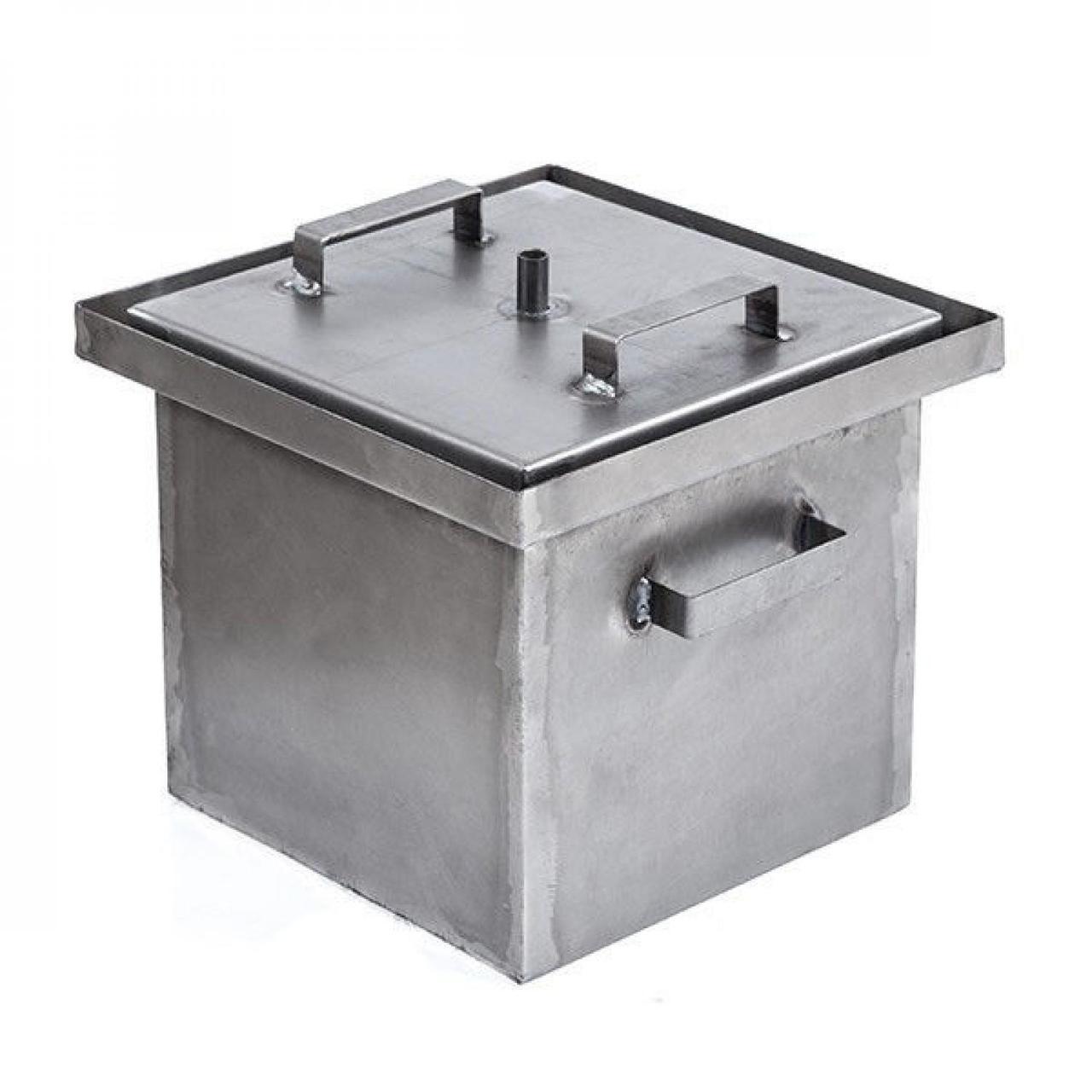 Коптильня с гидрозатвором 3 уровня и поддон 400Х400Х600 металл 1.5мм вертикальная