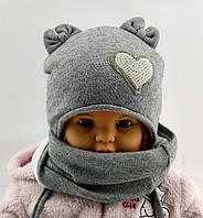 Оптом шапка детская с 44 по 48 размер хомутом ангора ушками шапки головные уборы детские опт, фото 1