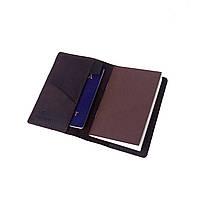 Обложка для документов, докхолдер Comfy Strap натуральная кожа Crazy Horse + блокнот (темно коричневый)