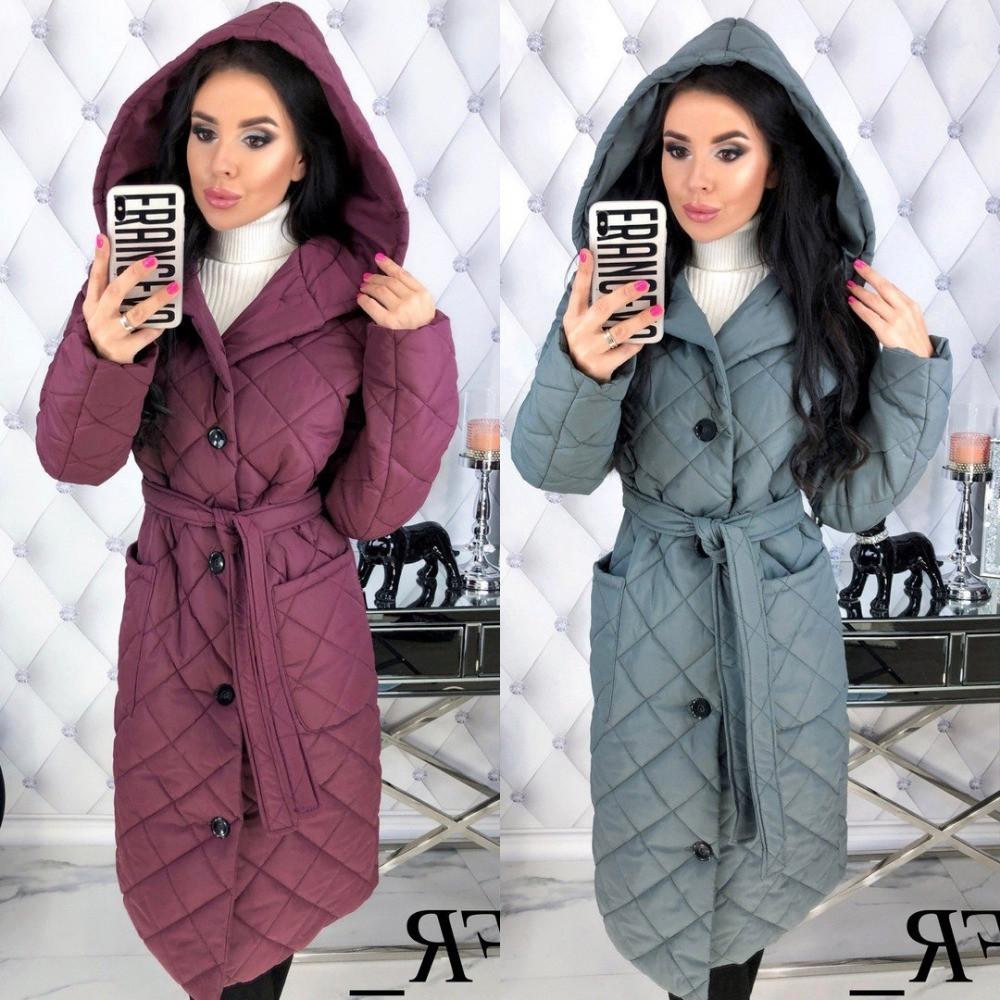 Куртка - пальто женское, плотная плащевка стеганка, удлиненное, синтипон 150, с капюшоном и карманами