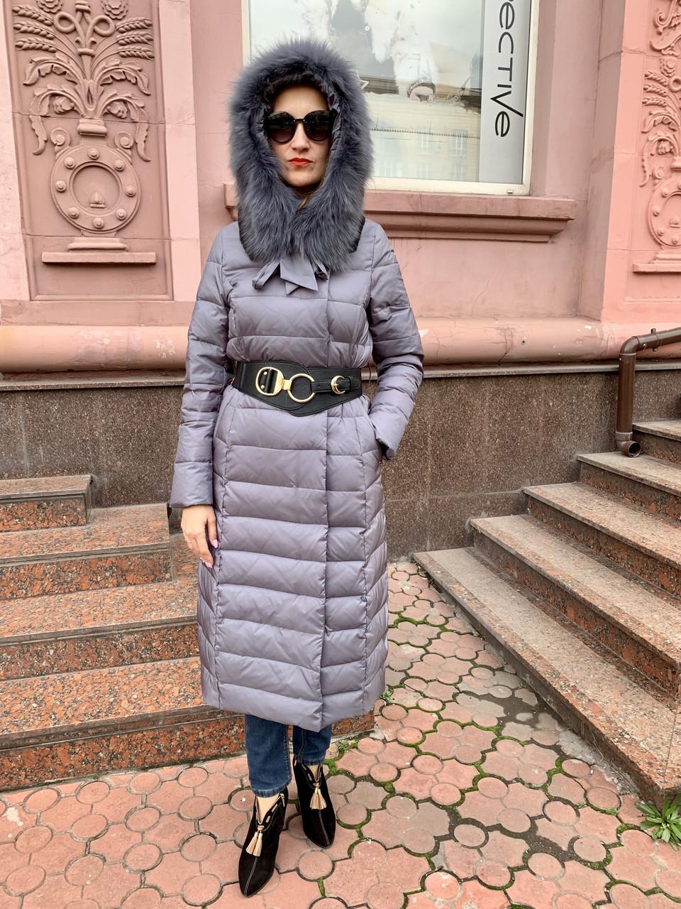 Пуховик в стиле  Cerruti длинное пальто с мехом на капюшоне