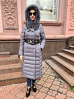 Пуховик в стиле  Cerruti длинное пальто с мехом на капюшоне, фото 1