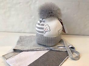 Детский комплект шапка+шарф для мальчика BARBARAS Польша WV56/LE