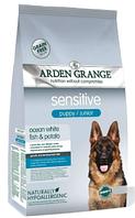 Сухой корм Arden Grange Puppy и Junior Sensitive океаническая рыба и картофель для собак всех пород