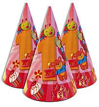 """Ковпачки 5 шт ковпаки святкові, маленькі """"Перший рік рожевий"""" 1558"""