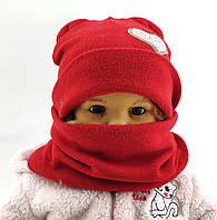 Шапка детская с заворотом с хомутом ткань ангора 48-50 см (ШДТ809)